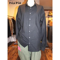 KMRii ・ケムリ・ Splash Cotton  Ramie Shirt・ブラックシャツ