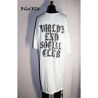 KMRii ・ケムリ・CRUSH PRINT LONG BACK/SS・  カットソー・ WHITE