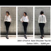 KMRii ・ケムリ・Open Shoulder Top・レディースカットソー・Black & White