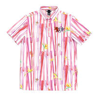 【ZOY】どんぶらこストライププリント MENS 半袖ポロシャツ ピンク/071210004