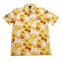 【ZOY】JAMS フラワープリント MENS 半袖ポロシャツ オレンジ/071402010