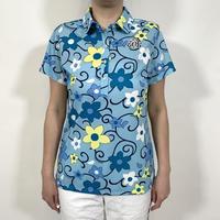 【ZOY】WOMENS JAMSフラワープリント 半袖ポロシャツ ミント/071612011