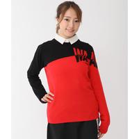 【WAAC】WOMENS配色ロゴ 長袖カシミヤニット レッド/072304751