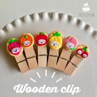 フルーツかぶりの苺ぼうや木製クリップ(3個入り)