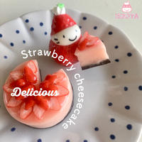 完熟ストロベリーチーズケーキの苺ぼうやオブジェ