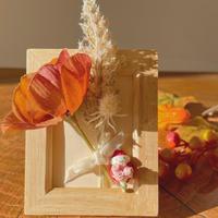 花束の苺ぼうや|ミニフレーム|秋のお飾り