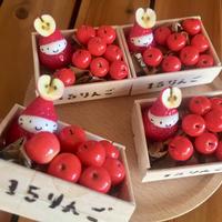 【再販】赤りんごの木箱の苺ぼうやオブジェ