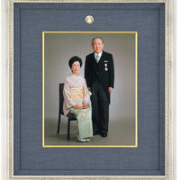 記念写真額(四つ切用)(インテリア額・銀群青)