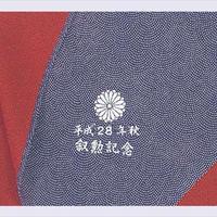 正絹鮫小紋紺/朱色二巾風呂敷