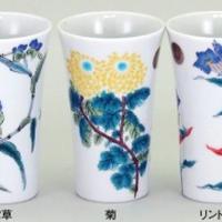 九谷草花 ペアフリーカップ 菊紋入り (5種の内2種選択)
