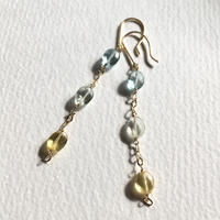 Aquamarine & K10YG Pierced Earrings - yellow