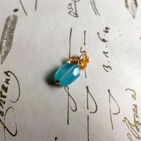 Sea Blue Chalcedony, Citrine & K10YG Charm