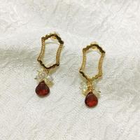 Dome short pierce Opal and Garnet [SV,GP]