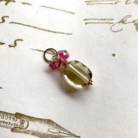 Lemon Quartz, Pink Tourmaline & K10YG Charm