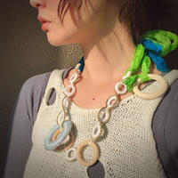 pono'i  Sweden knit ring necklace(WHITE×GOLD)