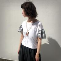 ondev stripe frill sleeve T-shirt
