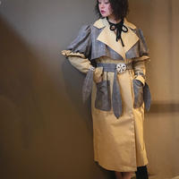 【CAl2IE】KAHKI CHECK PATCHWORK PEARL TRENCH COAT