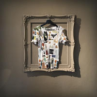 kotohayokozawa Print pleats T Shirt