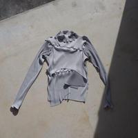 kotohayokozawa todo long sleeve high neck pleats top (gray)