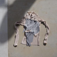 kotohayokozawa todo long sleeve high neck pleats top (beige)