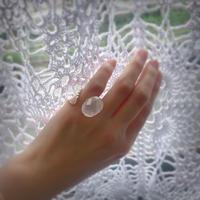 Atlica rainbow rose quartz pinkie ring