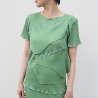 kotohayokozawa todo short sleeve pleats top(GREEN)