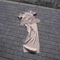 kotohayokozawa todo short sleeve pleats one piece beige