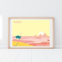 SUNRISE Ostrich | A2 Poster