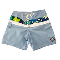 SIDE SLIP SHORT / SAX  FLOWER BAND