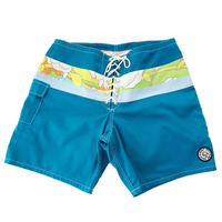 SIDE SLIP SHORT / TURQUOISE FLOWER BAND