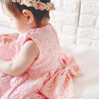 総レースビジューリボン付きドレス(600)