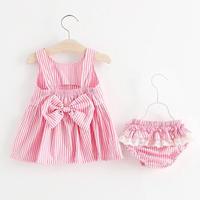 pinkストライプワンピース+フリルパンツ(300)