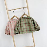 グリーンピンクチェックぽわん袖ブラウス(903)