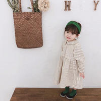 kids ドット長袖ワンピース(450)