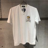【PAZZO】スカル刺繍ワッペン付  パイルVネックTシャツ ホワイト