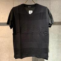 【Custom Culture】天竺×ニット コンビTシャツ ブラック
