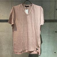 【Custom Culture】リネン天竺シルケット VネックTシャツ ピンク