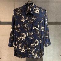 【Custom Culture】ボタニカルプリント七分袖シャツ ネイビー