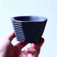 N/OH     澪標   盆栽鉢〝リッチブラック〟(縁フラットタイプ )  XS  no.120106