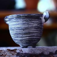 joint pot   安西桂   ×   安西岳郎   親子鉢〝土の子″  象嵌  M ミミツキ  no.82338