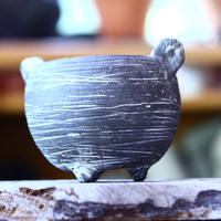 joint pot   安西桂   ×   安西岳郎   親子鉢〝土の子″  象嵌  L ミミツキ  no.82349