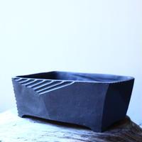 N/OH     澪標   盆栽鉢〝リッチブラック〟(縁フラットタイプ)  M  no.121550
