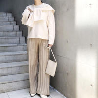suede touch pleats pants