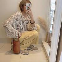 mesh knit short pullover