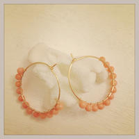 K14GF coral hoop earrings...❤︎