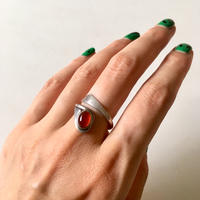 vintage silver × stone ring