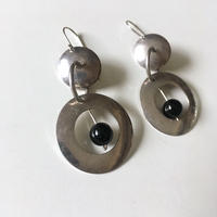 Vintage silver × onyx dangle pierced earrings