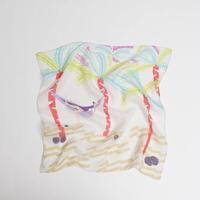 YARN&COPPER 近江リネン 'Coconut Bay' Cream リング付きミニスカーフ