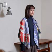 YARN&COPPER Merino Wool 'Salt&Pepper' forest green 正方形スカーフ