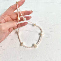 (285) pink beads & poteto fresh water pearl necklace 【淡水パール】